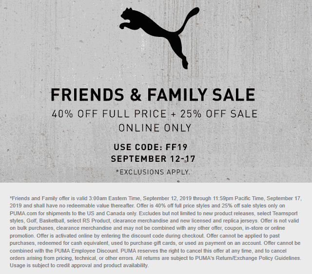 Puma Coupon October 2019 40% off online at PUMA via promo code FF19