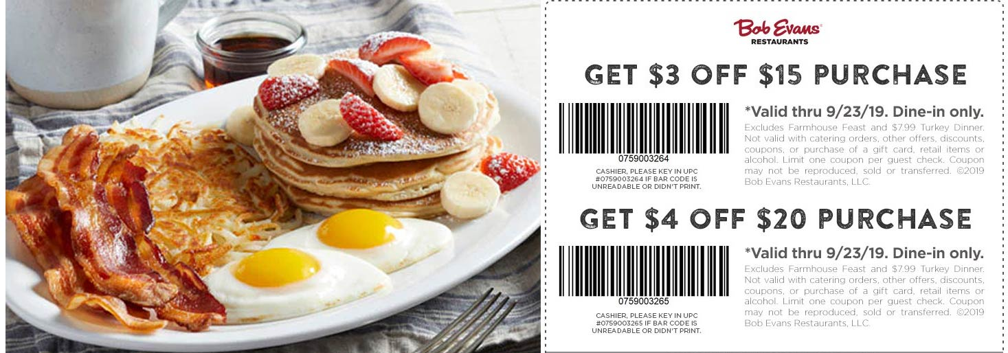 Bob Evans Coupon February 2020 $3-$4 off at Bob Evans restaurants