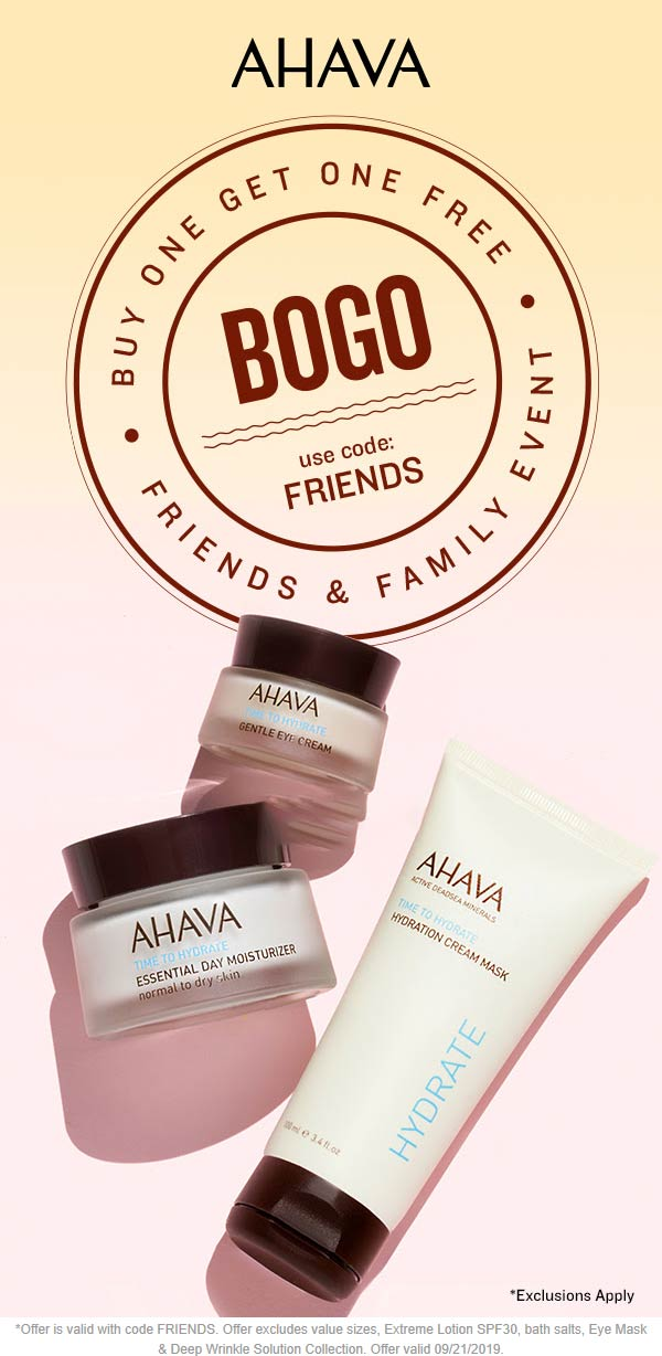 AHAVA Coupon February 2020 Second item free at AHAVA via promo code FRIENDS