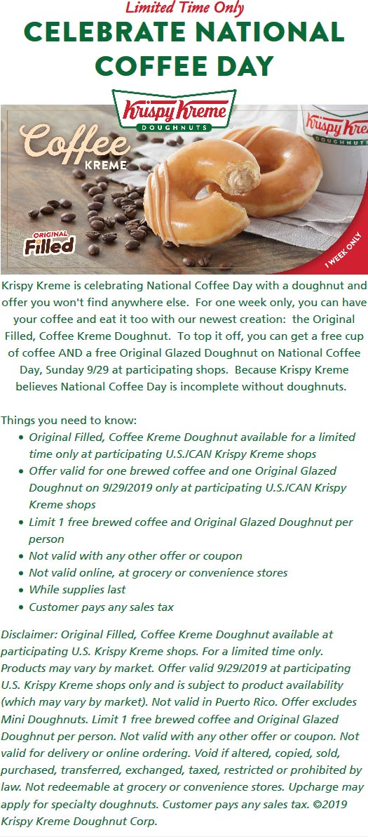 Krispy Kreme Coupon February 2020 Free coffee & stuffed donut the 29th at Krispy Kreme doughnuts
