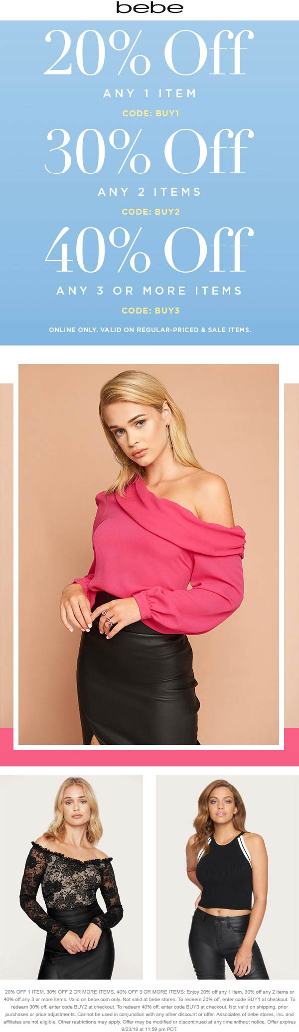 Bebe coupons & promo code for [April 2020]
