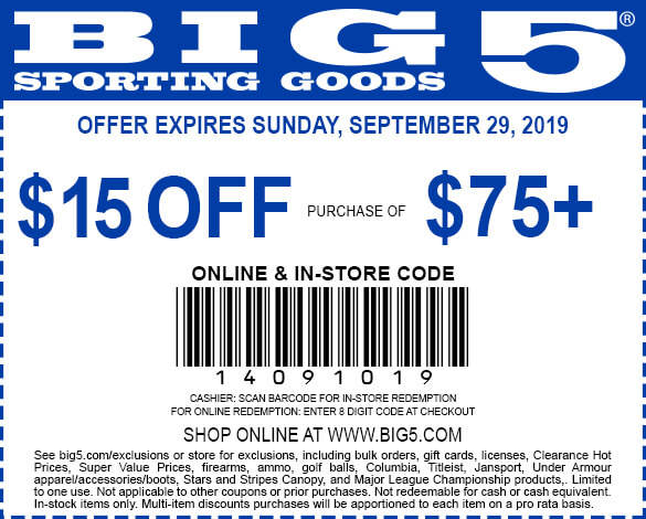 Big 5 coupons & promo code for [April 2020]