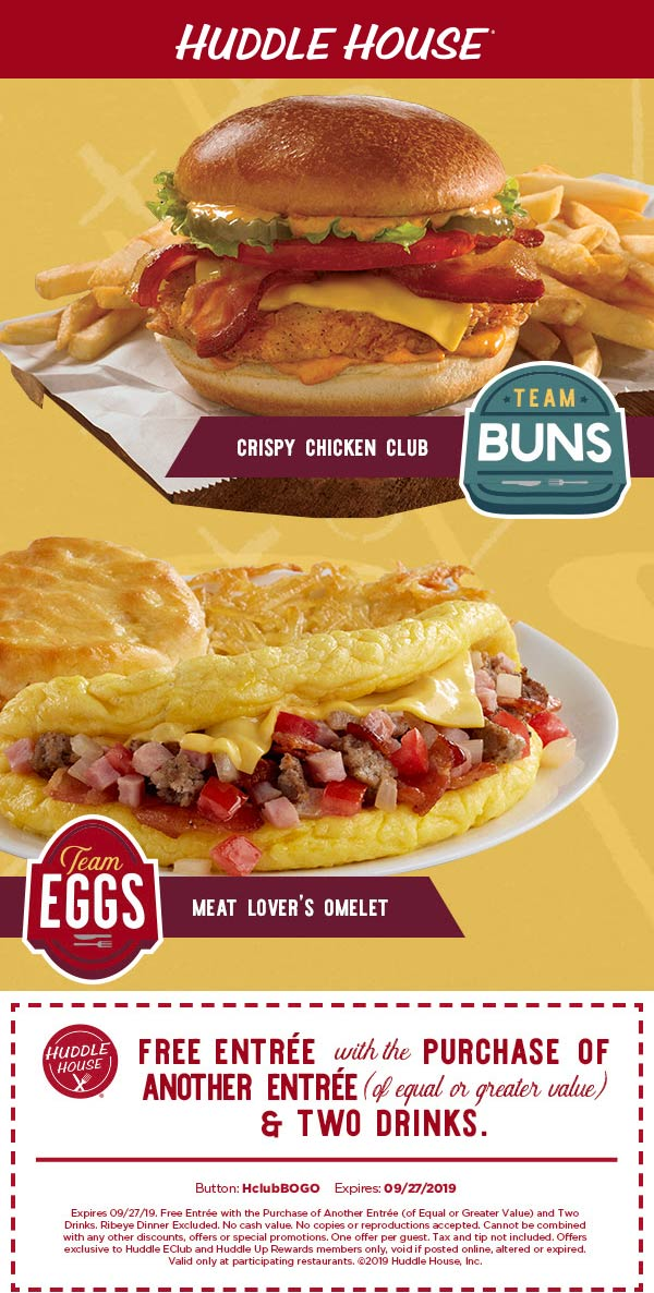Huddle House Coupon February 2020 Second entree free at Huddle House