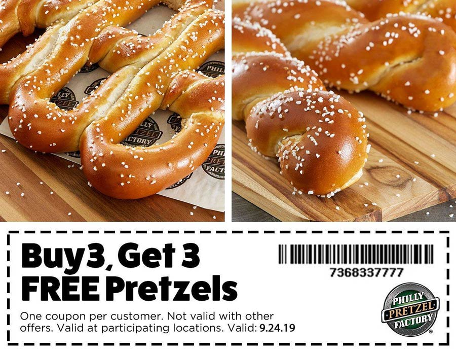 Philly Pretzel Factory Coupon February 2020 Second 3pc pretzels free today at Philly Pretzel Factory
