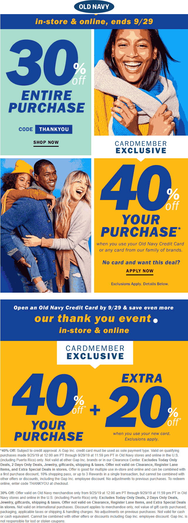 Old Navy Coupon February 2020 30% off everything at Old Navy, or online via promo code THANKYOU