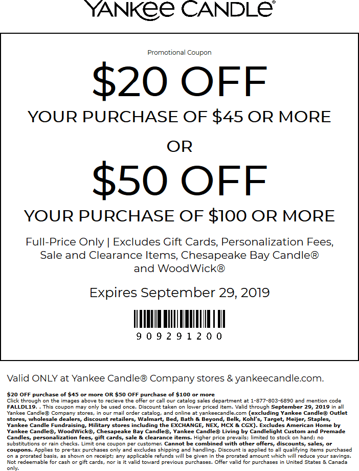 Yankee Candle Coupon February 2020 $20-$50 off $45+ today at Yankee Candle, or online via promo code FALLDL19