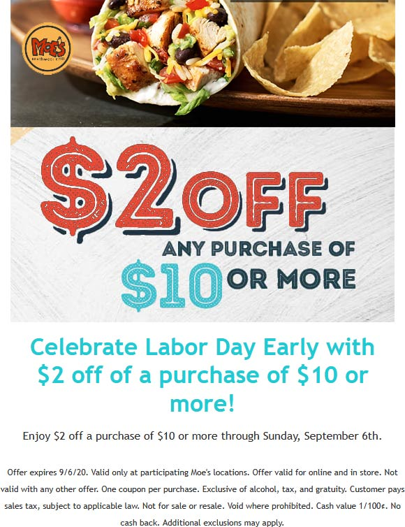 Moes Southwest Grill restaurants Coupon  $2 off $10 at Moes Southwest Grill #moessouthwestgrill