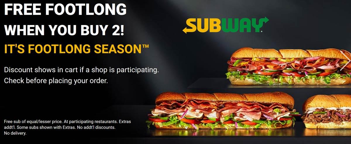 September 2020 3rd Footlong Sub Sandwich Free At Subway Also 3 49 Any 6 Inch Subway Coupon Promo Code The Coupons App
