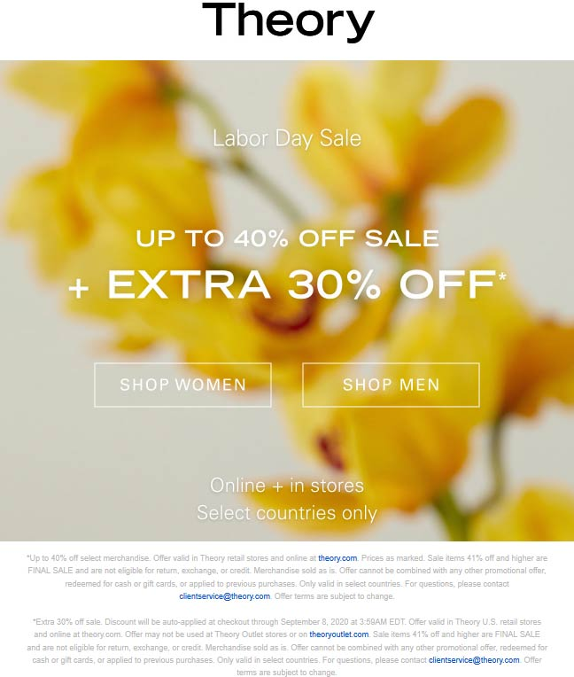 Extra 30% off today at Theory, ditto online #theory