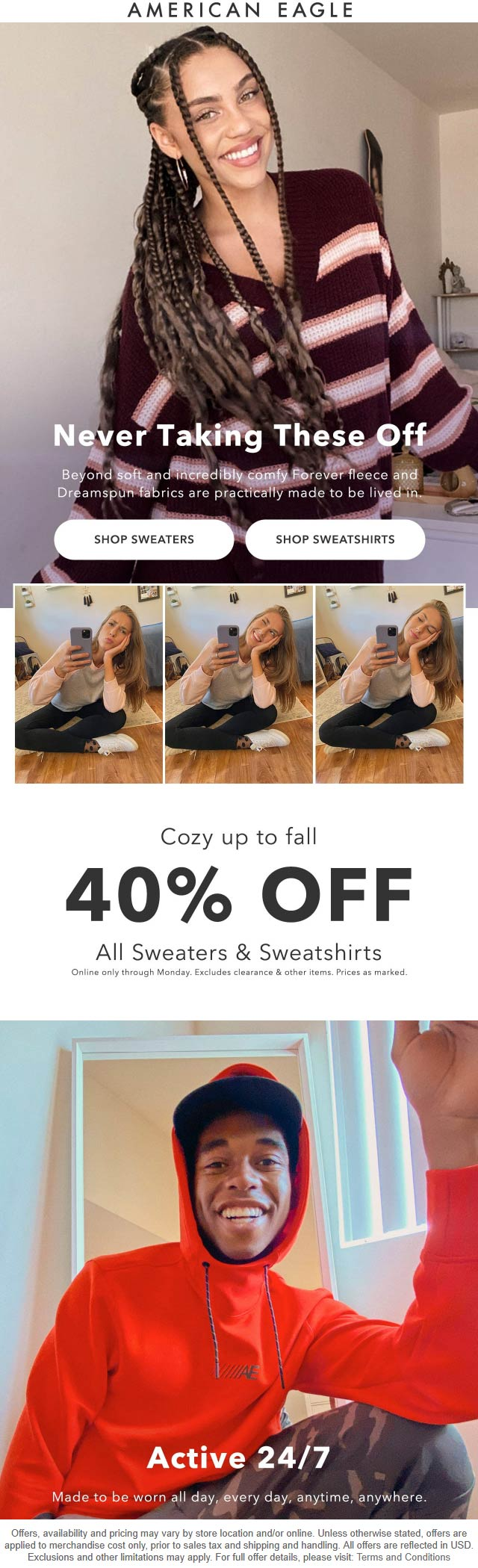 American Eagle stores Coupon  40% off all sweaters & sweatshirts online at American Eagle #americaneagle