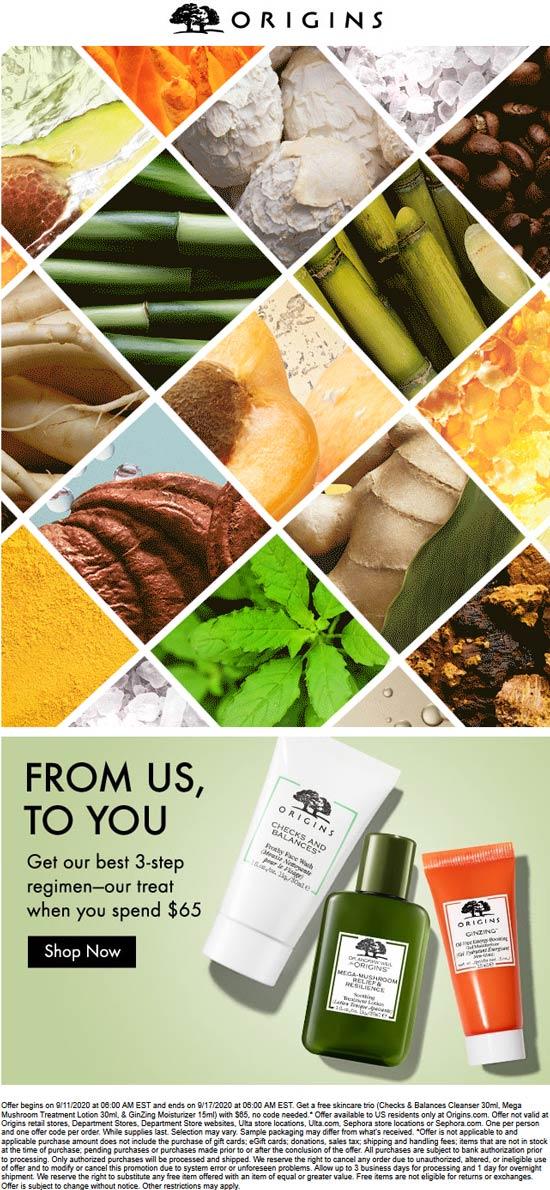 Origins stores Coupon  3pc cleanser lotion & moisturizer regimen free with $65 spent at Origins #origins