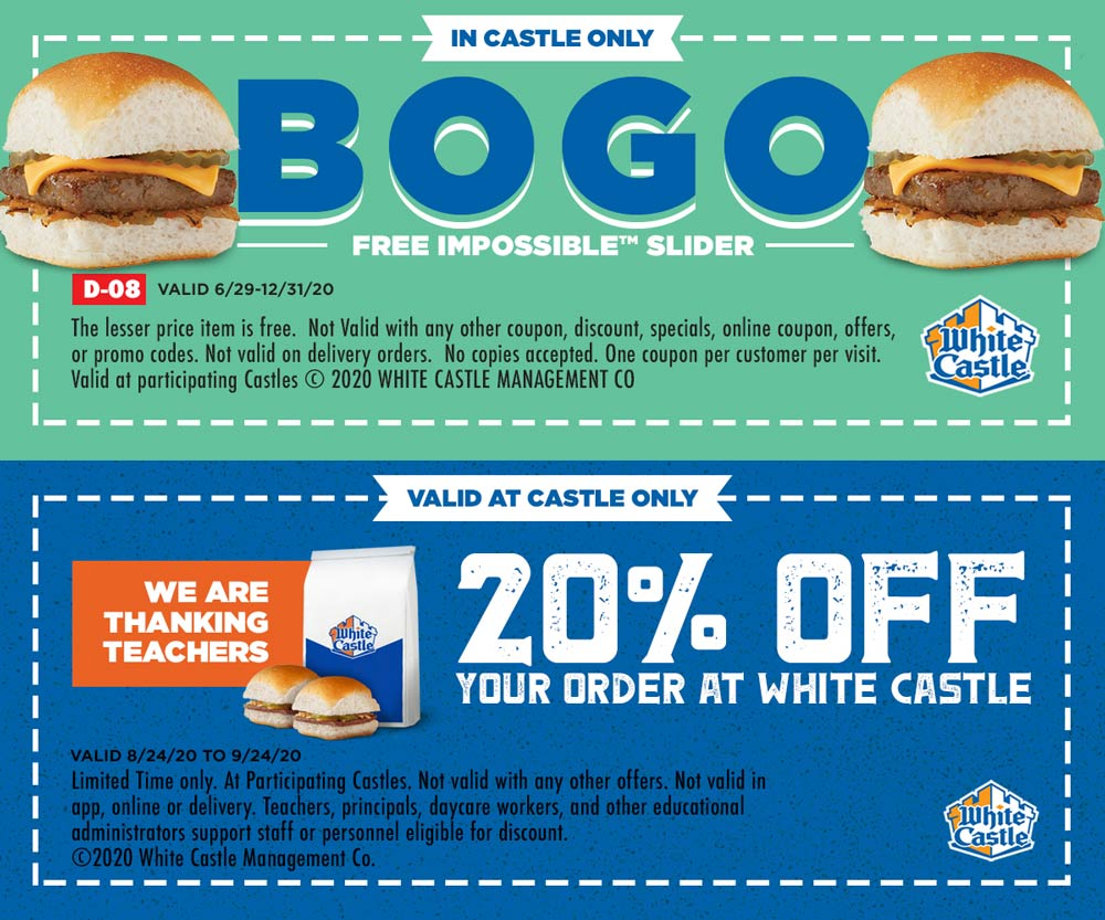 White Castle coupons & promo code for [October 2020]