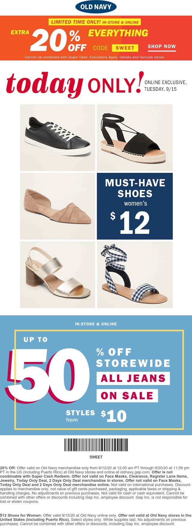 November 2020 Extra 20 Off Everything At Old Navy Or Online Via Promo Code Sweet Oldnavy Coupon Promo Code The Coupons App