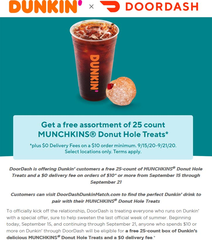 Dunkin coupons & promo code for [September 2020]