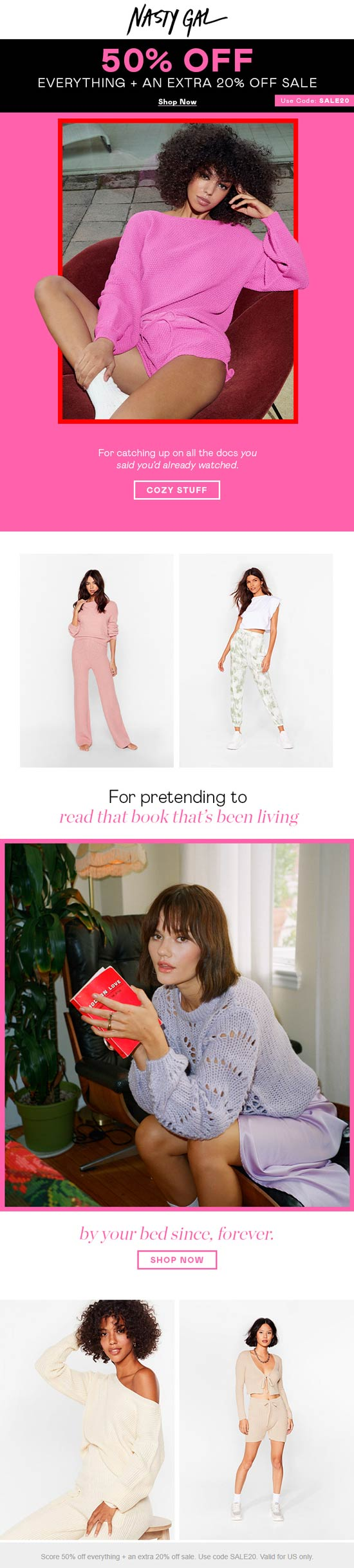 50% off everything & extra 20% off sale items today at Nasty Gal via promo code SALE20 #nastygal