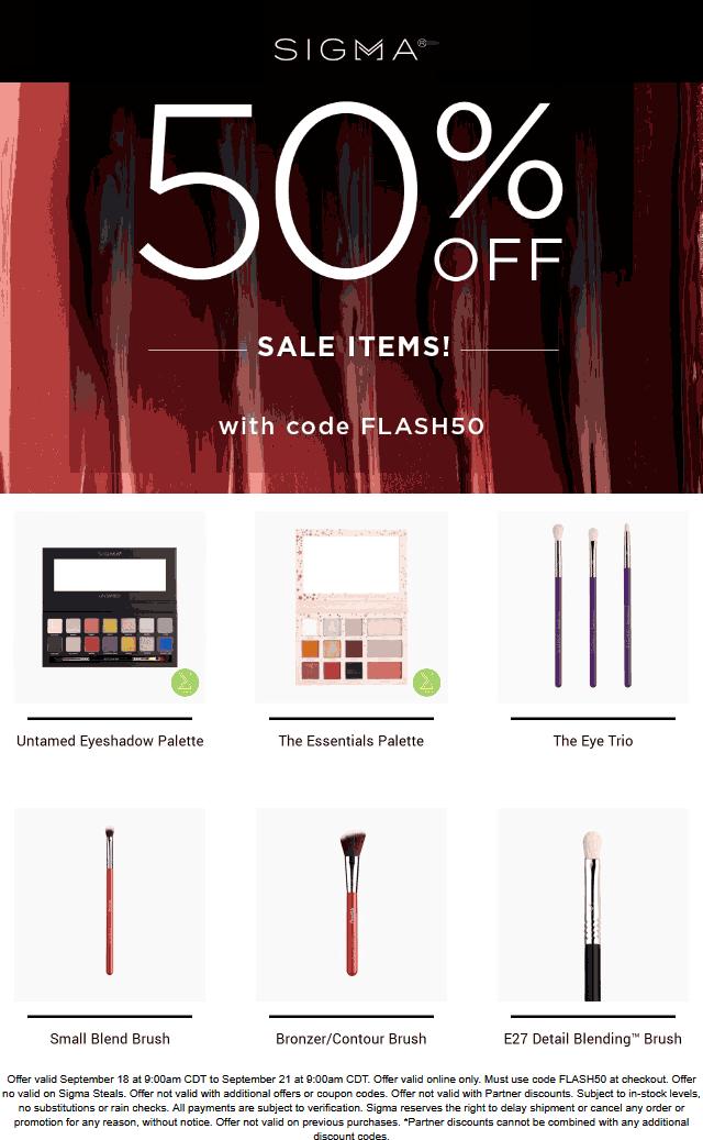 Extra 50% off sale items at Sigma beauty via promo code FLASH50 #sigma