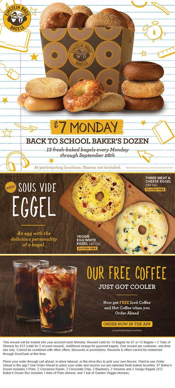 Einstein Bros Bagels restaurants Coupon  13 bagels = $7 today for rewards members at Einstein Bros Bagels #einsteinbrosbagels