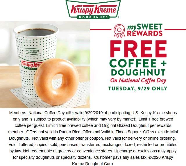 Krispy Kreme restaurants Coupon  Free coffee + doughnut for rewards members Tuesday at Krispy Kreme #krispykreme