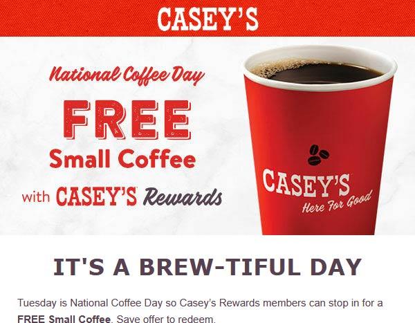 Caseys restaurants Coupon  Free coffee today for rewards loggedin at Caseys gas stations #caseys