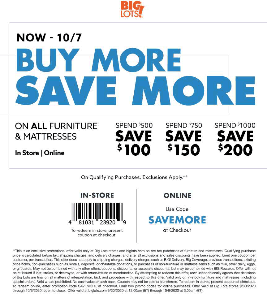 November 2020 10 Off 50 More At Big Lots Or Online Via Promo Code Rewards Biglots Coupon Promo Code The Coupons App