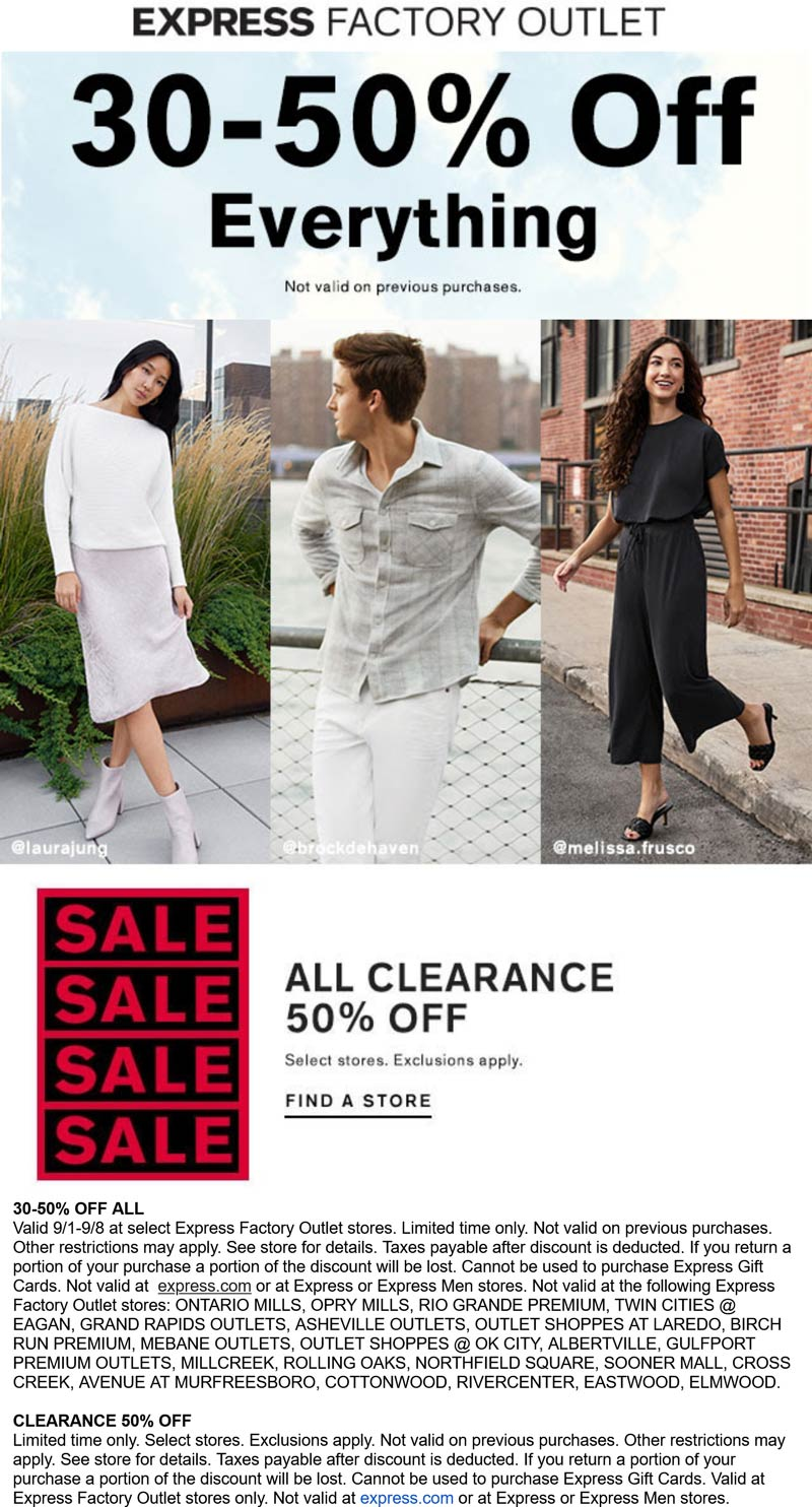Express Factory Outlet stores Coupon  30-50% off everything at Express Factory Outlet #expressfactoryoutlet