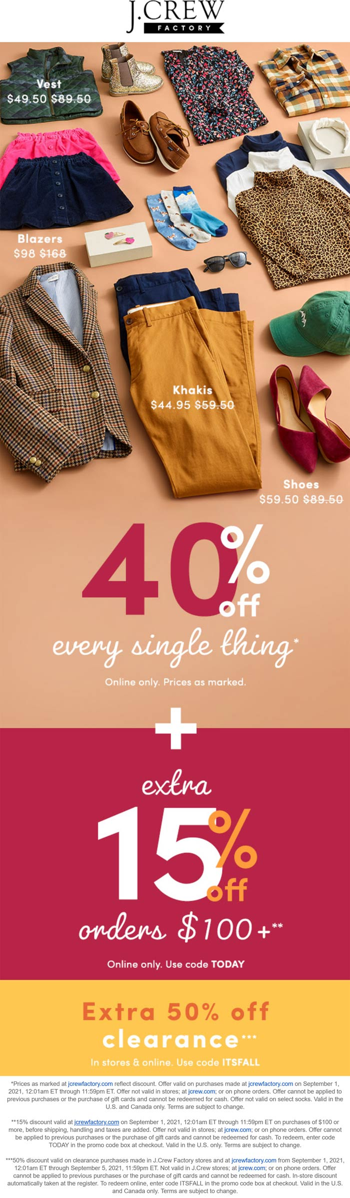 J.Crew Factory stores Coupon  40-55% off everything online today at J.Crew Factory via promo code TODAY #jcrewfactory