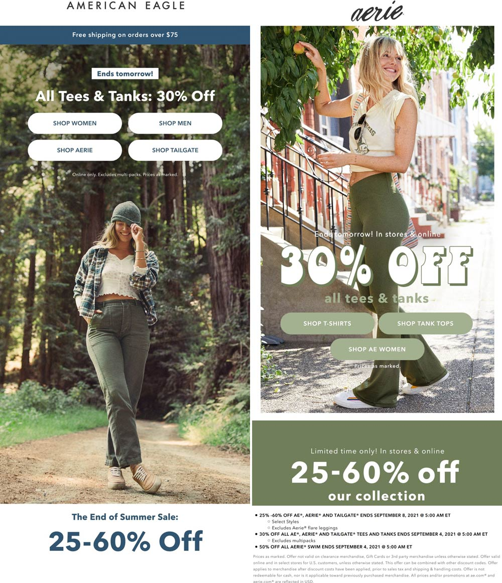 American Eagle stores Coupon  30% off all tees & more at American Eagle & Aerie #americaneagle
