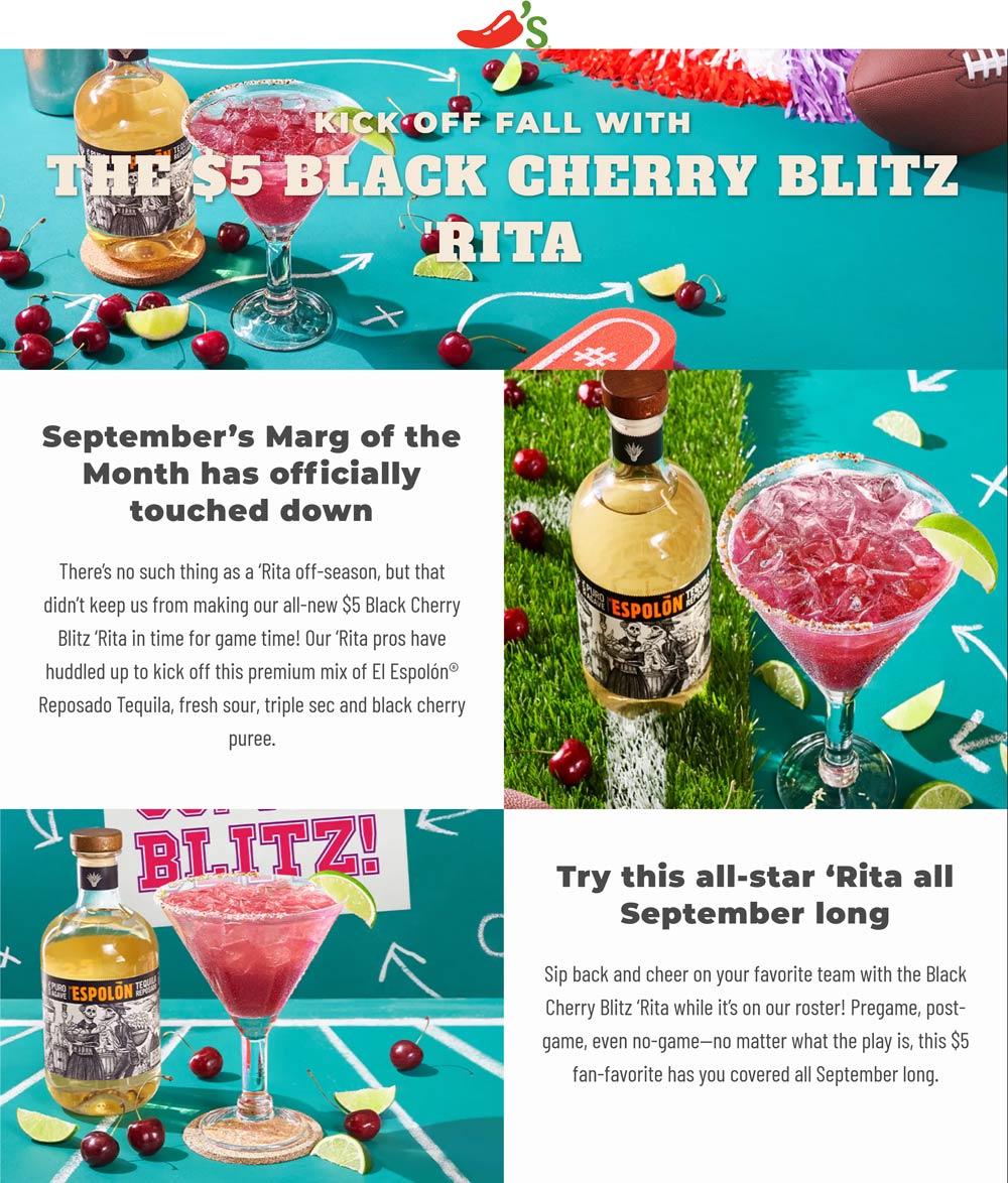 Chilis restaurants Coupon  $5 black cherry margarita all month at Chilis restaurants #chilis