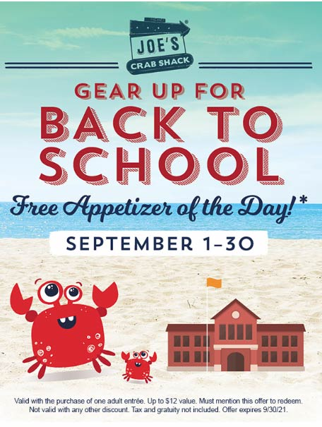 Joes Crab Shack restaurants Coupon  Free appetizer with your entree all month at Joes Crab Shack #joescrabshack