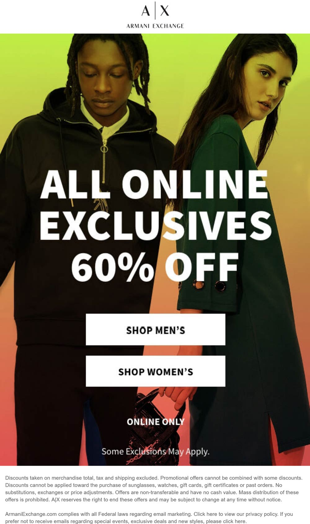 Armani Exchange stores Coupon  60% off all online exclusives at Armani Exchange #armaniexchange