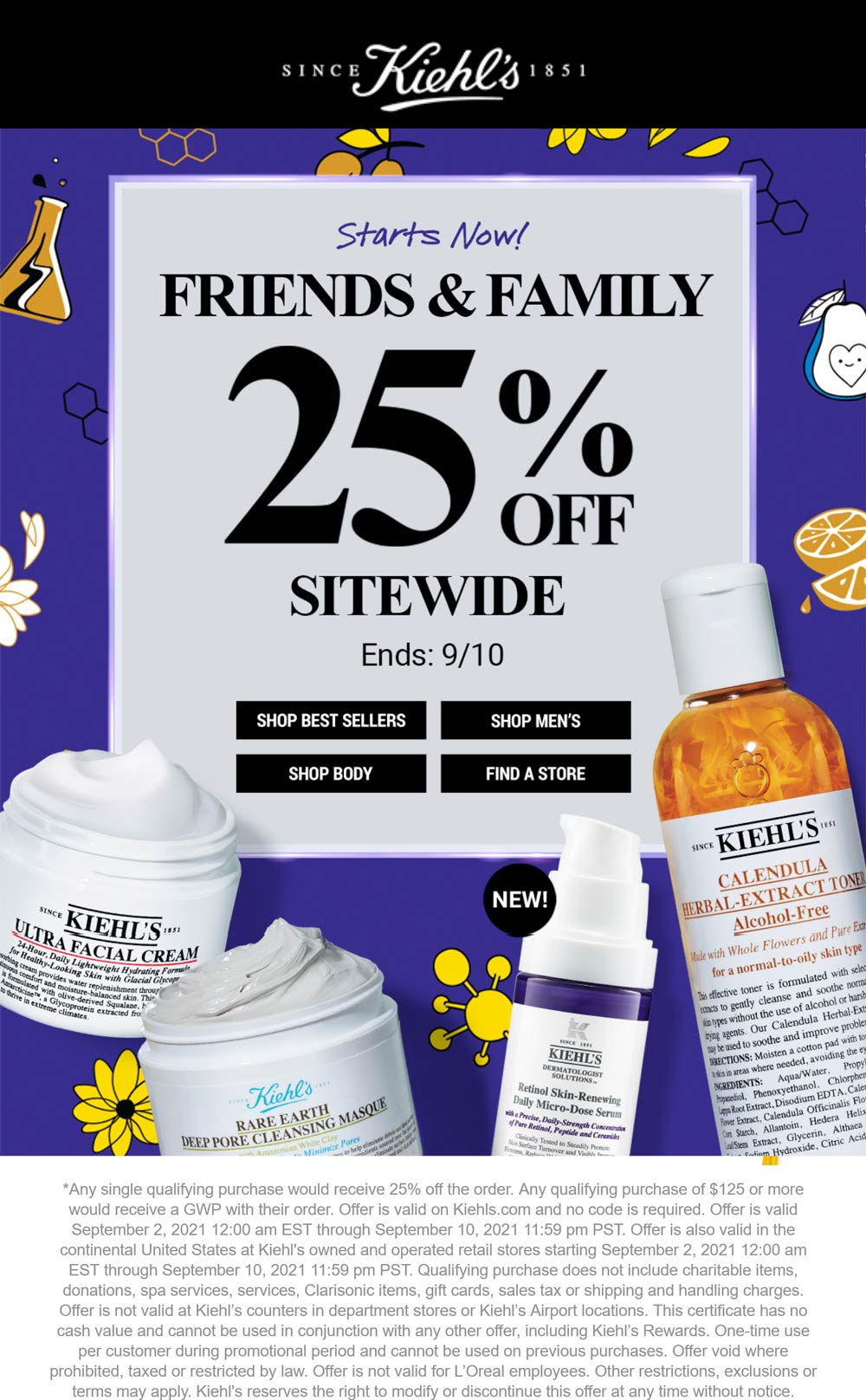 Kiehls stores Coupon  25% off at Kiehls #kiehls