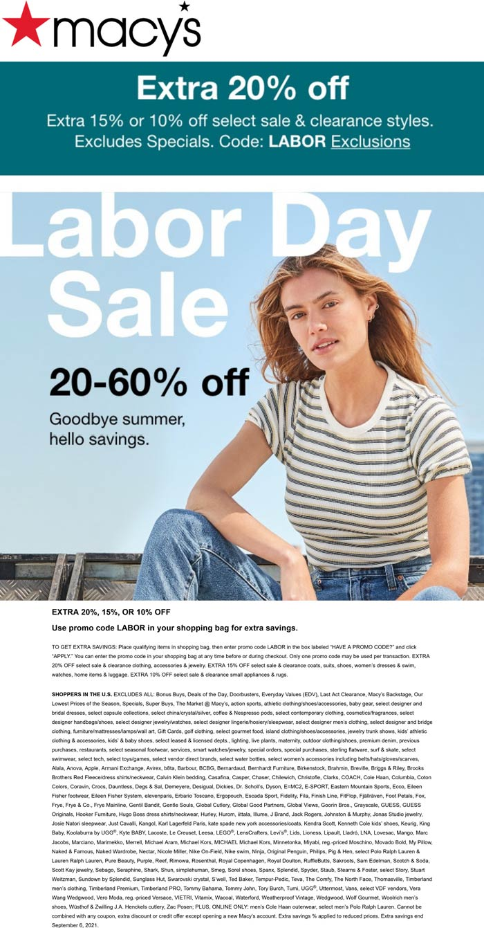 Macys stores Coupon  Extra 20% off at Macys via promo code LABOR #macys