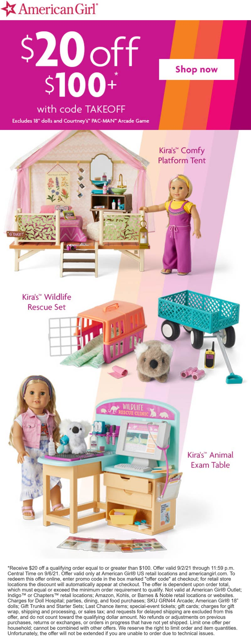 American Girl stores Coupon  $20 off $100 today at American Girl via promo code TAKEOFF #americangirl