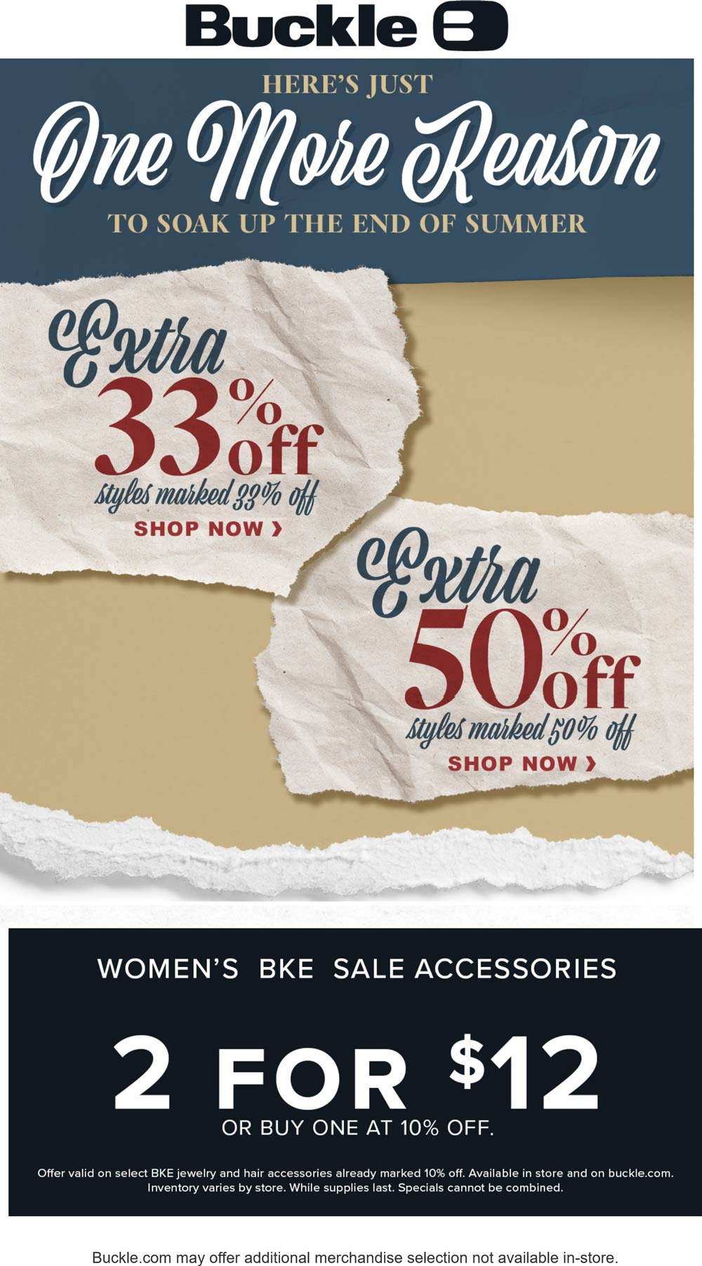 Buckle stores Coupon  Extra 33-50% off sale items at Buckle, ditto online #buckle