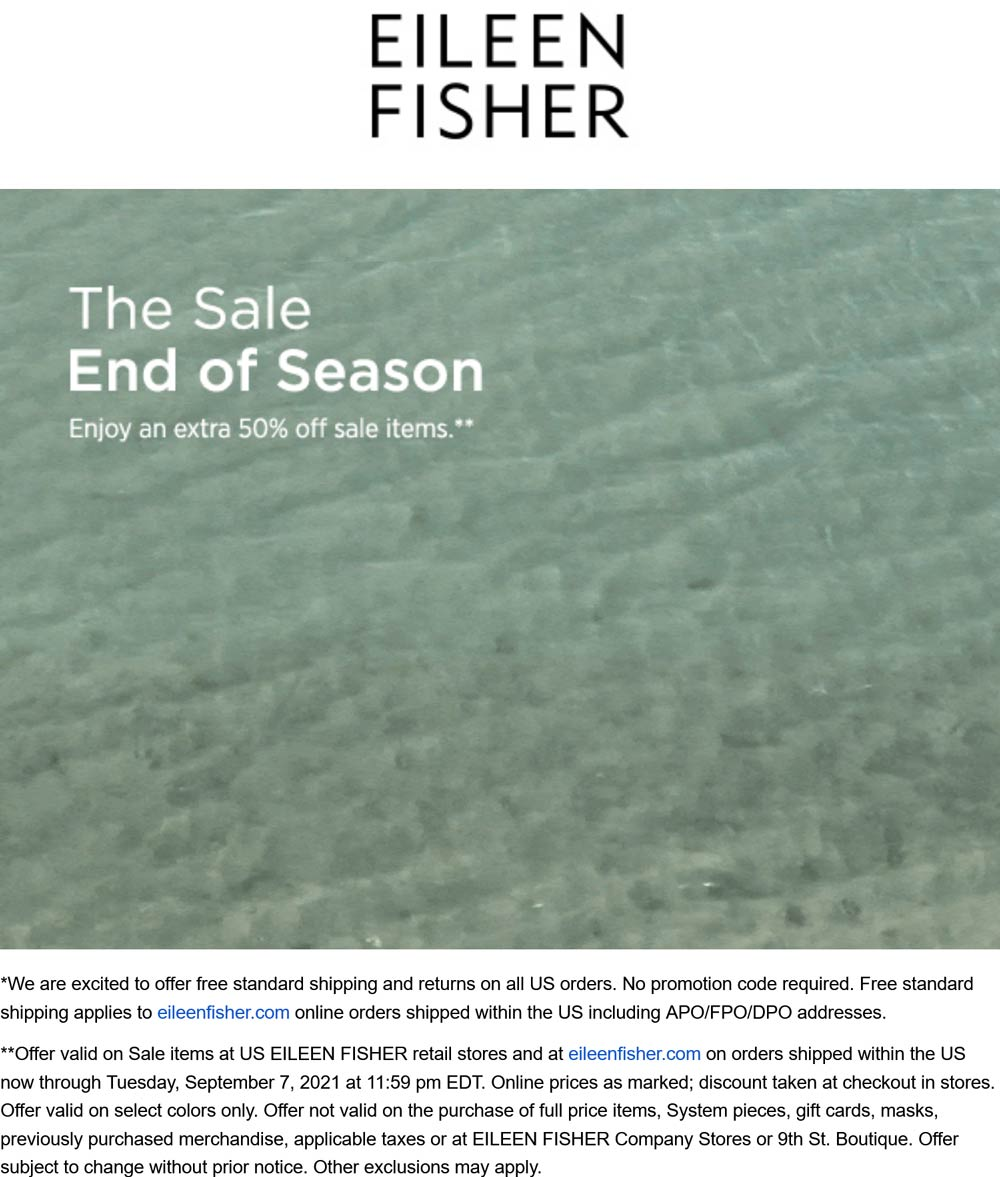 Eileen Fisher stores Coupon  Extra 50% off sale items at Eileen Fisher, ditto online #eileenfisher