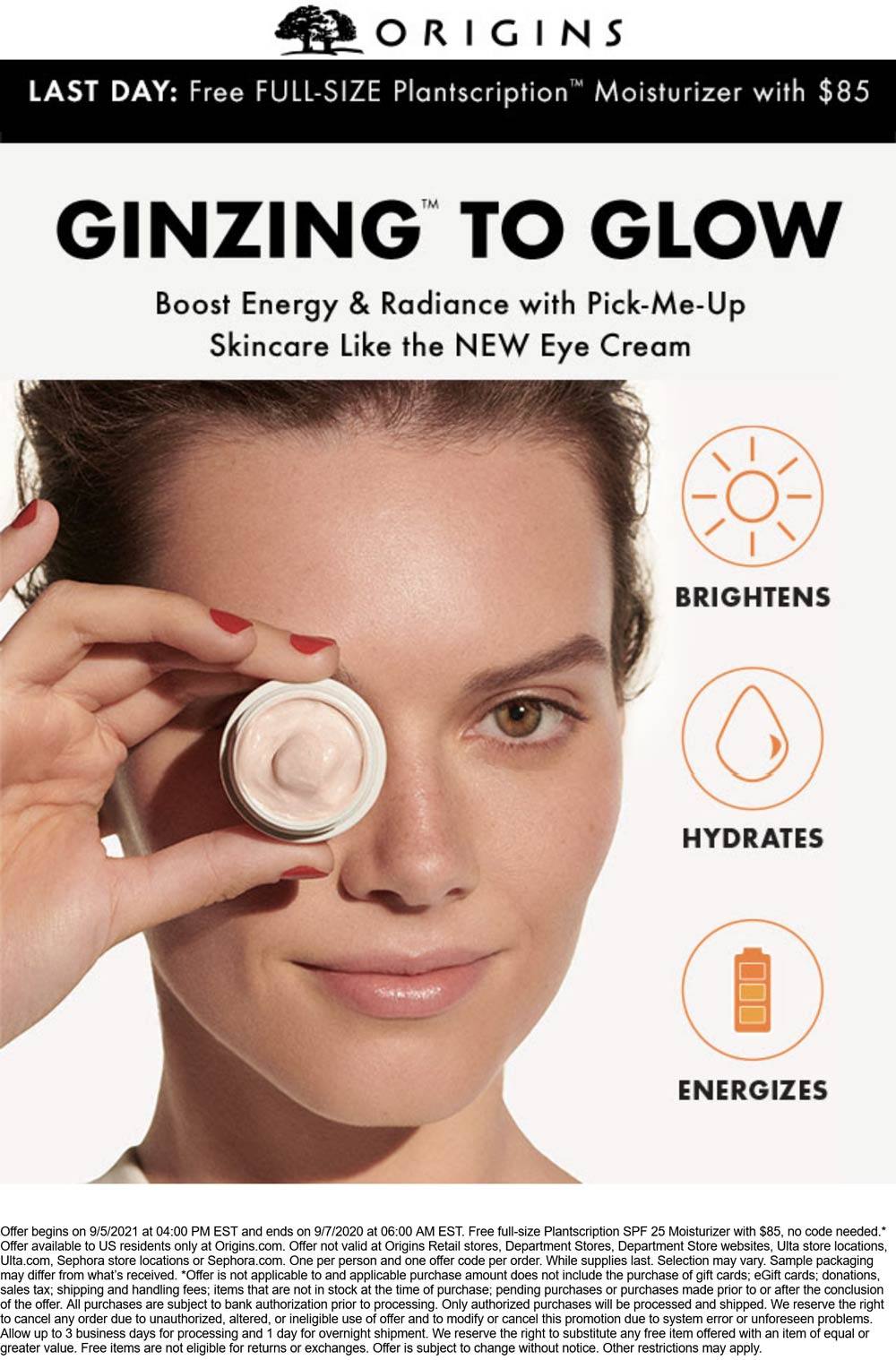Origins stores Coupon  Free full size moisturizer with $85 spent today at Origins #origins