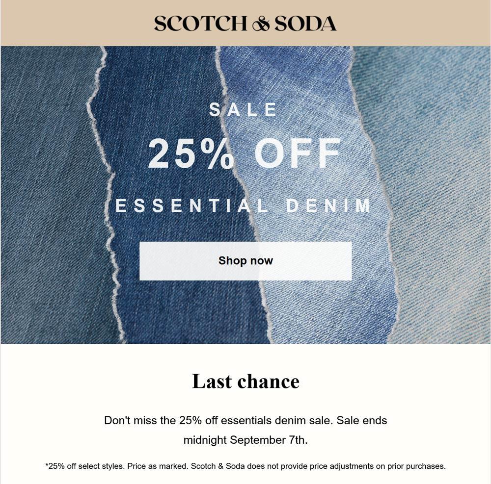 Scotch & Soda restaurants Coupon  25% off denim at Scotch & Soda #scotchsoda