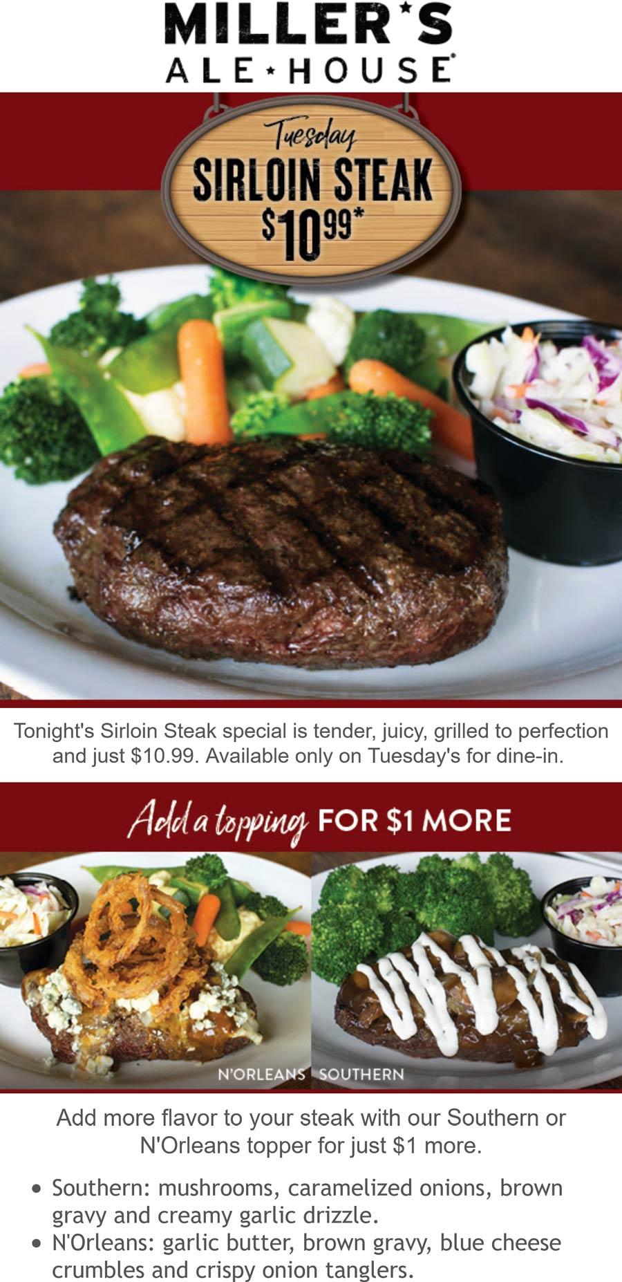 Millers Ale House restaurants Coupon  $11 sirloin steak meal Tuesdays at Millers Ale House #millersalehouse