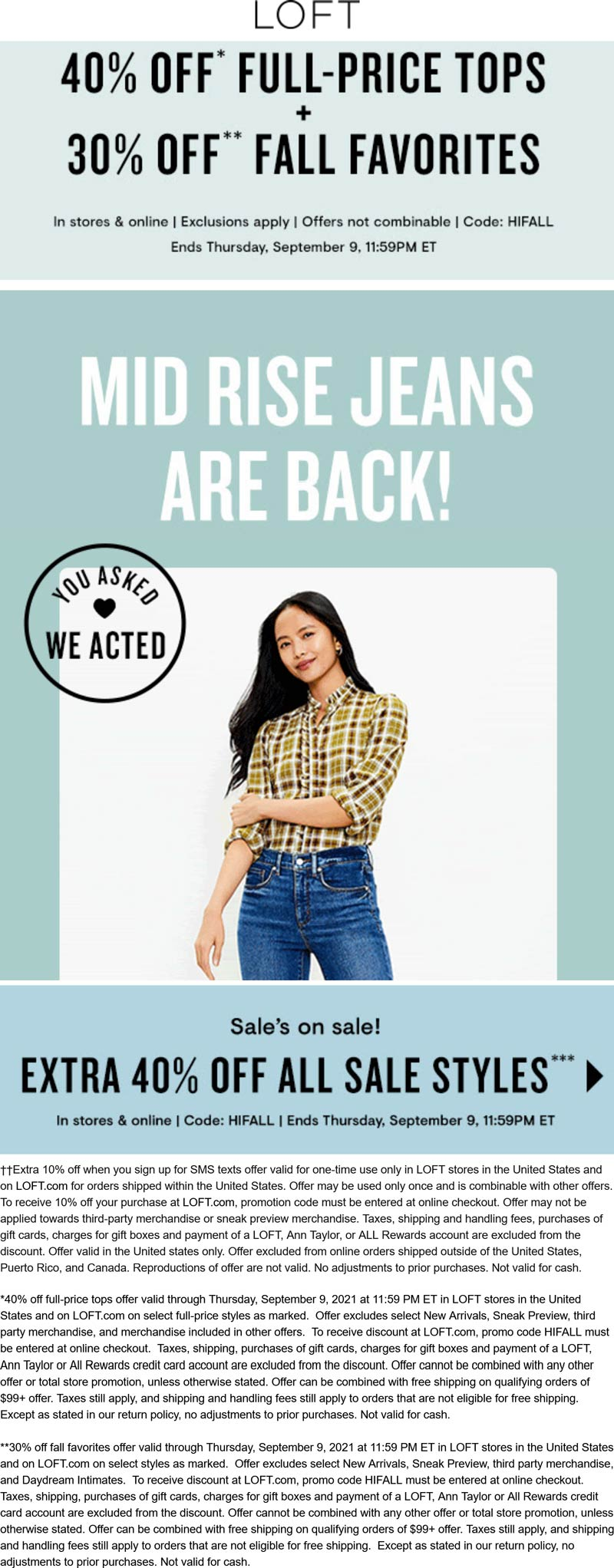 LOFT stores Coupon  30% off fall faves & 40% off tops + sale styles at LOFT, or online via promo code HIFALL #loft