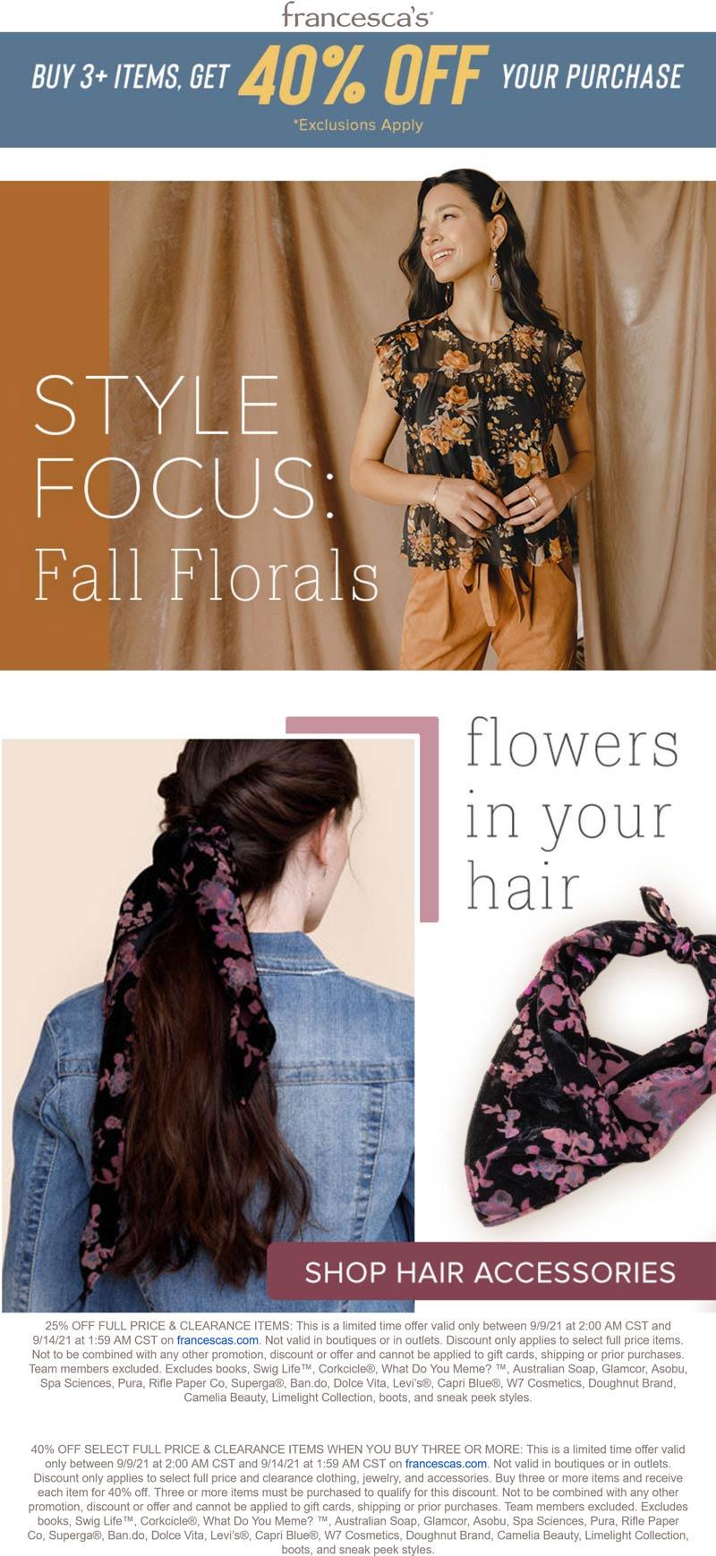 Francescas stores Coupon  40% off 3+ items online at Francescas #francescas