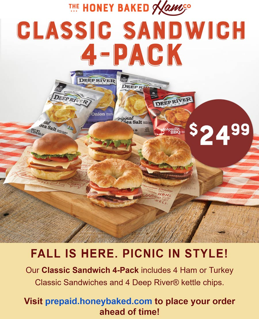 Honeybaked restaurants Coupon  4 sandwiches + 4 chips = $25 at Honeybaked Ham restaurants #honeybaked