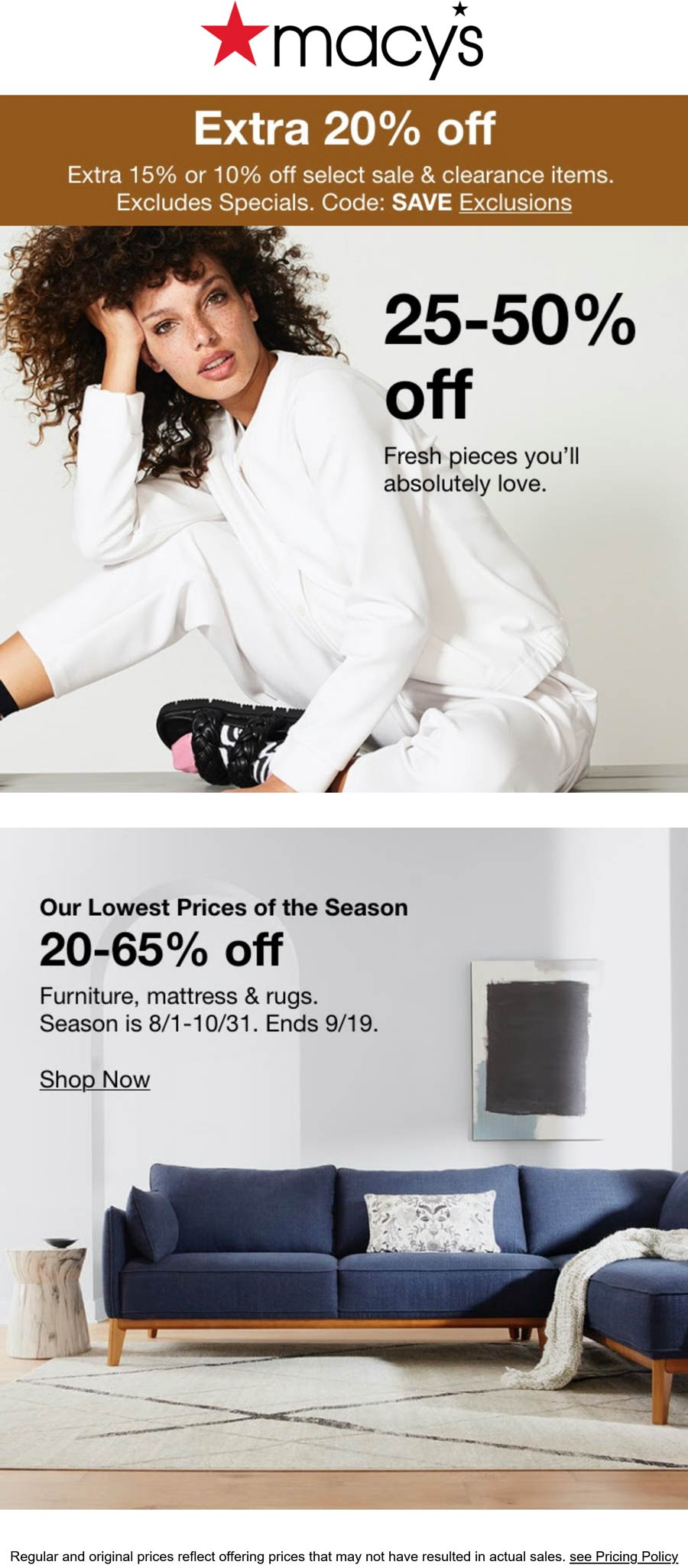 Macys stores Coupon  20-65% off furniture & extra 20% off sale items at Macys, or online via promo code SAVE #macys