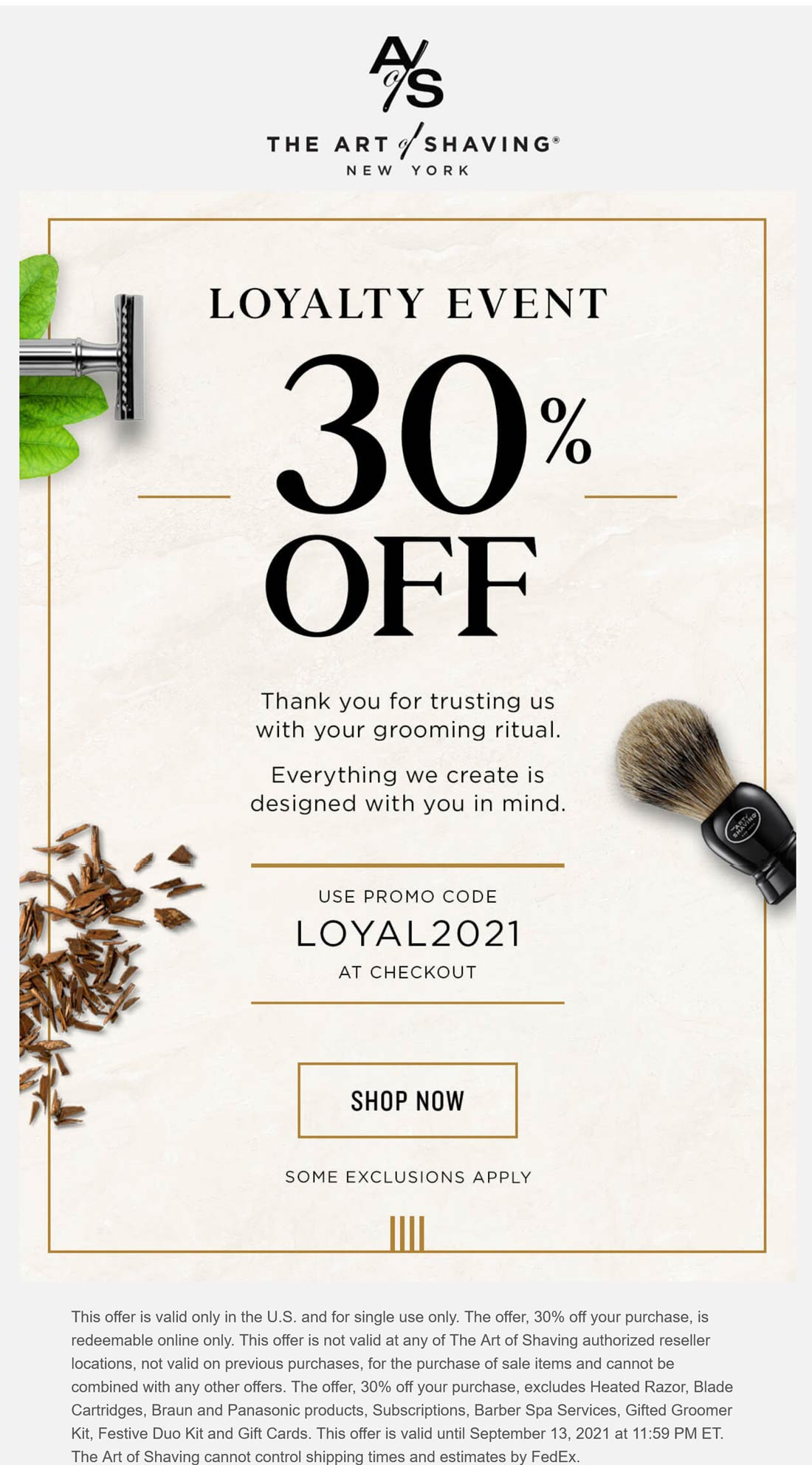 The Art of Shaving coupons & promo code for [October 2021]