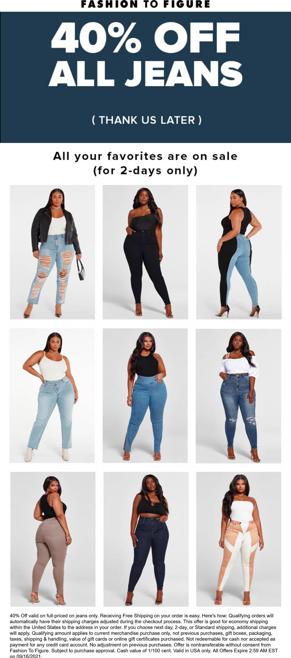 Fashion to Figure stores Coupon  40% off all jeans at Fashion to Figure #fashiontofigure