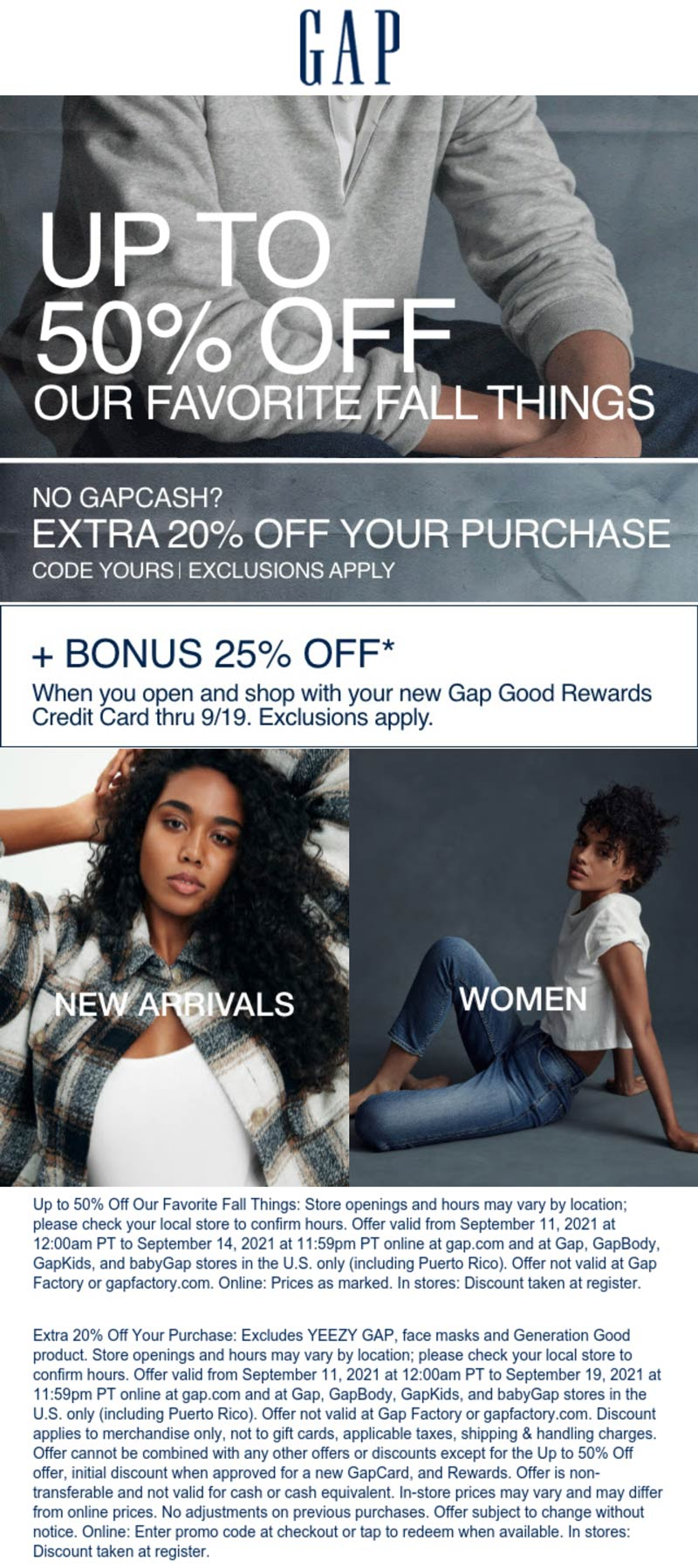Gap stores Coupon  Extra 20% off & more at Gap via promo code YOURS #gap