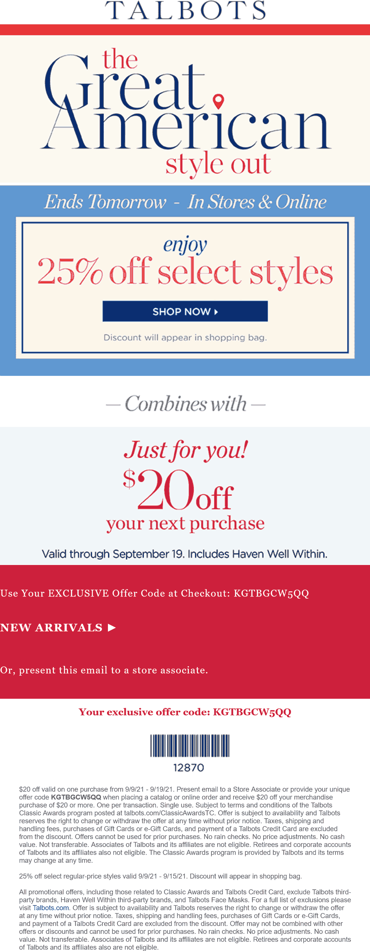 Talbots coupons & promo code for [October 2021]