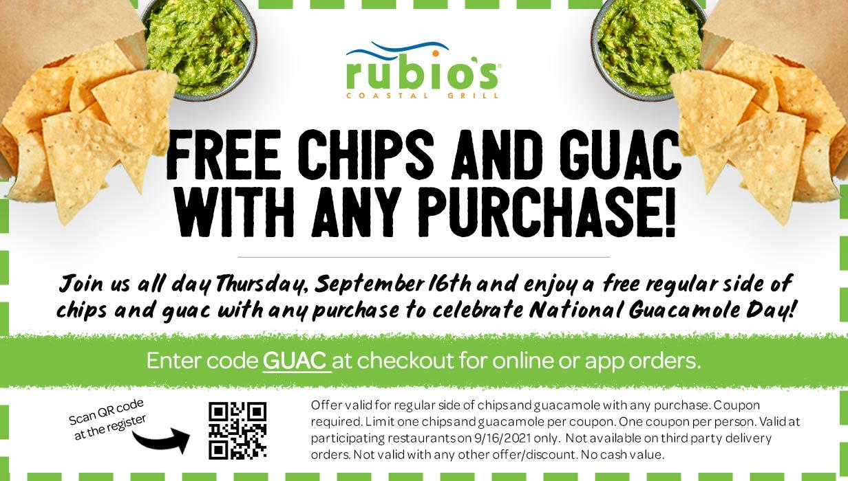 Rubios restaurants Coupon  Free chips & guacamole today at Rubios restaurants, or online via promo code GUAC #rubios