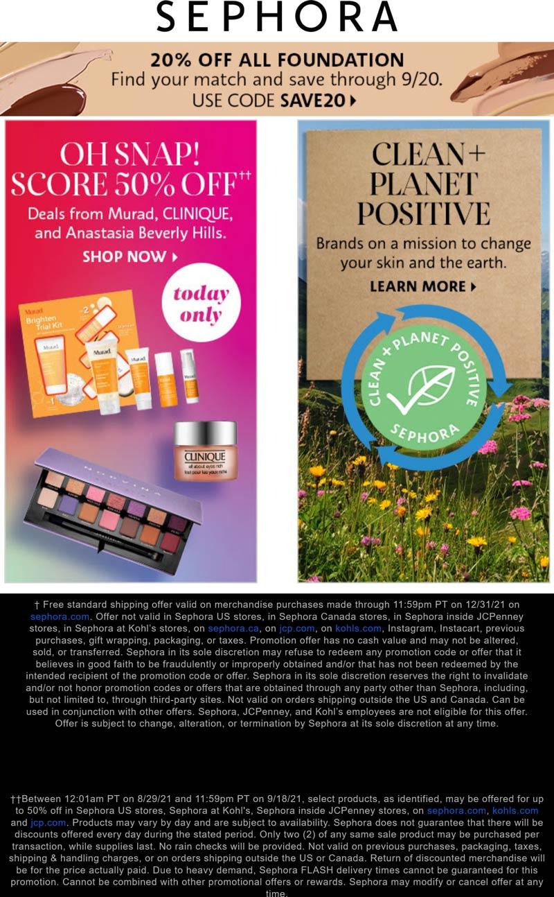 Sephora stores Coupon  20% off all foundations at Sephora via promo code SAVE20 #sephora