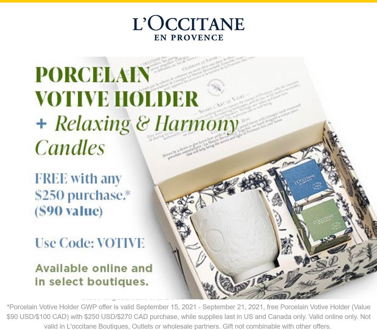 LOccitane stores Coupon  Free porcelain holder & candle set with $250 spent online at LOccitane via promo code VOTIVE #loccitane