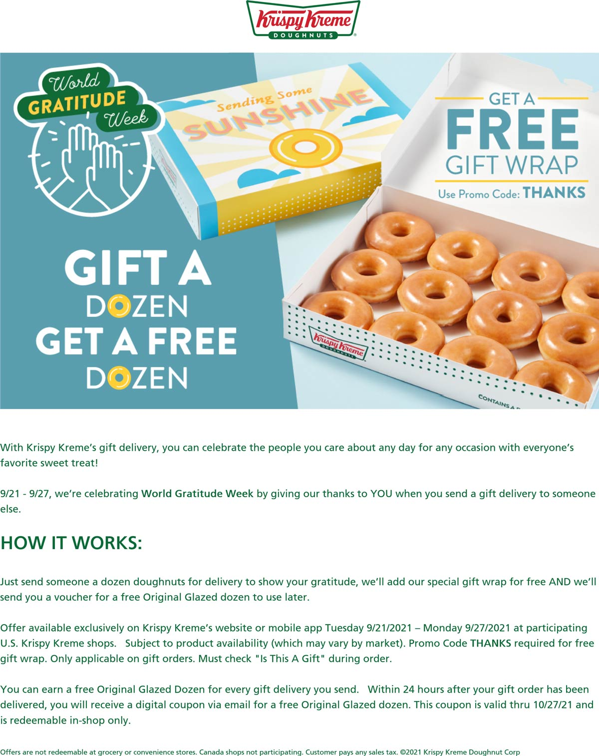 Krispy Kreme restaurants Coupon  Gift a dozen doughnuts get a free dozen at Krispy Kreme via promo code THANKS #krispykreme